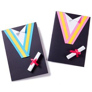 Handmade Graduation Dress Card DIY Craft Material Kindergarten Educational Tool Wedding Birthday Graduation Cards Invitations
