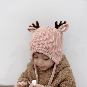 Fashion 2020 Christmas Hats Beanie Winter Baby Caps Warm Cotton Knitted Children Hat Bonnet Cute Antlers XMAS Hats For Kids