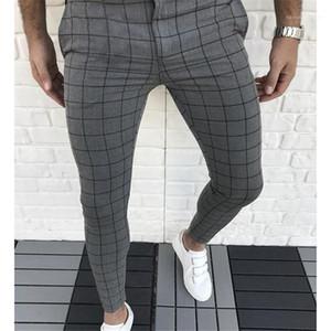 Pantalones para hombre ropa de los hombres de la tela escocesa con paneles de diseño pantalones del lápiz de la moda Color Natural Capris estilo ocasional