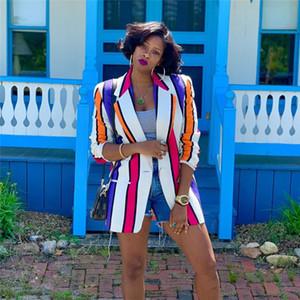 الخريف النسائية مخطط مطبوعة الحلل مصمم أزياء طية صدر السترة عنق المرأة معطف عادية لون التباين السيدات الملابس 2020 جودة عالية جديدة