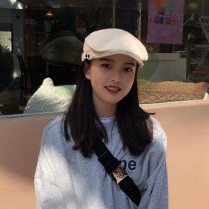 zTjsB Kadın Sivri kap Kore tarzı moda moda bahar ince siperli şapka ileri şapka ressam şapka hepsi maç beret beret