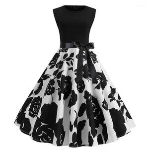 Estilo Vestidos Linha floral das mulheres sem mangas vestido de festa Vingate vestido estampado Moda Hepburn com laço elegante