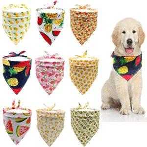 La primavera y el verano triángulo mascota bufanda caliente de la venta de frutas patrón de gato perro bufanda de alimentos para mascotas toalla de la saliva de color sandía piña