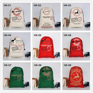 Weihnachten Sants Tasche Leinwand Candy Bag für Kinder Geschenk Santa Claus Bag Weihnachtsgeschenk Taschen 38 Arten DHE2694