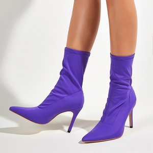 Purple Boots Women Pointed Toe Boots Fall Stiletto Heel Ankle Women Candy Color Party Dress Shoes Sexy High Heels