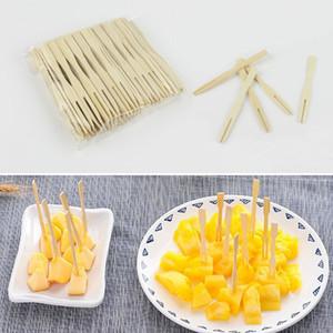 Pur bambou écologique à usage unique fourchette de fruits Forks Dessert Gâteau Party Forks Snack magasin à usage unique Ménage AHD936