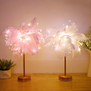 LED Feather Shade Table Desk Lamp Atmosphere Night Light Christmas Decor Soft pink Bedroom Study Room