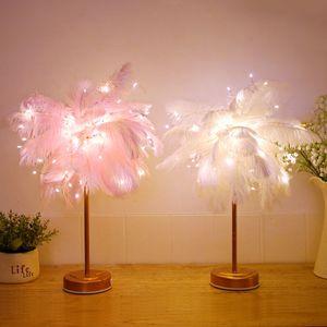LED-Feder-Schatten-Tabellenschreibtischlampe Atmosphäre Nachtlicht-Weihnachtsdekor-Soft pink Schlafzimmer Study Room