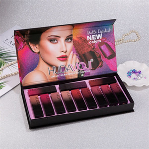 Popular Christmas Gift Newest Makeup HUDA MOJI 12 Colors Lipstick Set Non-stick Cup long lasting Waterproof Matte lipstick Free shipping