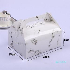 식품 스토리지 박스 포장 손잡이와 대리석 디자인 종이 상자 초콜릿 케이크 파티 쿠키 선물 상자 5 색