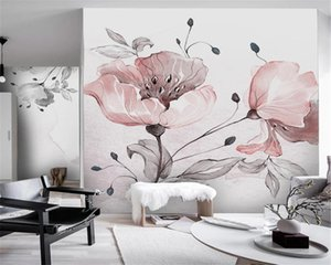 Wholesale 3d Wallpaper Nordic Simple Watercolor Flowers Small Fresh Bedroom Background Wall HD Silk Wall Cover
