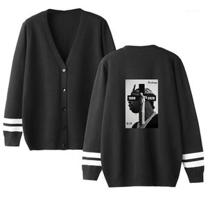 Männer Pullover Pop Rapper Herren Designer Pullover Cardigan Hip Hop-Buchstabe gedrucktes loser Knopf Langärmlig mit V-Ausschnitt Pullover Mode