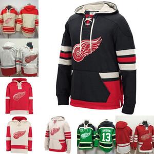 costumbre Detroit Red Wings Henrik Zetterberg Dylan Larkin Justin Abdelkader 9 Gordie Howe retro del patín Sudadera con capucha 35 Jimmy Howard Negro