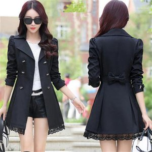 Womens Coats Solid Color Womens Windrunner Autumn Lace Lapel Neck Long Sleeve Sexy Ladies Trench Coats Fashion