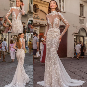 Berta Illusion Long Sleeve Mermaid Wedding Dresses 2021 High Neck Backless Luxury Lace Applique Outdoor Bride Dress Vestido De Noiva