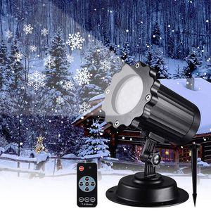 원격 제어 야외 정원 레이저 램프 프로젝터 빛 크리스마스 회전 눈송이 빛 눈보라 프로젝터 무대 조명
