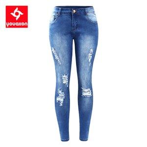 Youaxon AB BOYUT Ripped Fading Jeans Women`s Artı boyutu Kadınlar Jean Kalem Pantolon CX200821 için Stretchy Denim Skinny Sıkıntılı Jeans