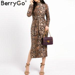 BerryGo Sexy leopardo das mulheres de malha longo Dresss Outono longos manga faixas bodycon vestidos de festa elegante vesitidos femininos