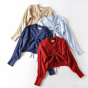 Q1VAn printemps nouveau front pull-over de couleur unie de mode féminine pull W3439 Pull lâche cordon de serrage V-cou