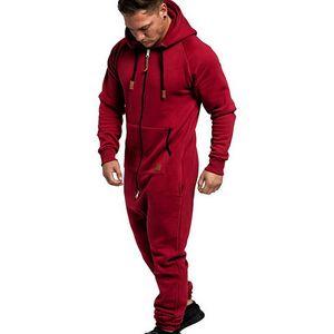LOOZYKIT Men Pure Color de empalme con capucha Mono Casual Imprimir Sweatsuit manga larga cremallera superior sueltan los pantalones de Running Set