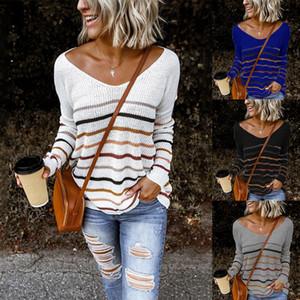 Frauen-reizvolle gestrickte V-Ausschnitt Pullover plus lose Pullover in Übergröße Frauen Pullover weiblich Langarm Winter-Strick