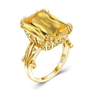 Forma ouro 18k de cores Anel For Women Men Square Topaz Citrino Partido Anel Gemstone Feminino Silver Ring Belas Jewely