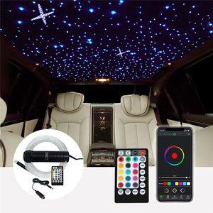 RF 제어와 DC12V 6W RGB 자동차 지붕 스타 조명 LED 광섬유 별 천장 라이트 키트 2M 0.75 100 ~ 380pcs 광섬유