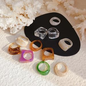 MENGJIQIAO moda colorata resina acrilica quadrati anelli per le donne ragazze coreane elegante Mid Finger snodo anelli gioielli regalo