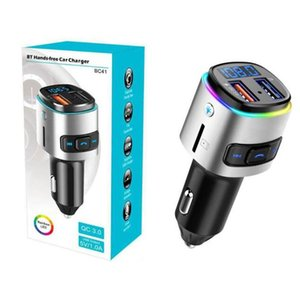 BC41 Car MP3 player Bluetooth transmissor FM Música receptor sem fio Jogador QC3.0 USB Car Charger Suporte U disco