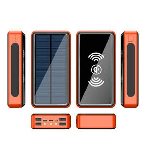 Hızlı samsung akıllı telefon için Harici Şarj Güç Bankaları 4 USB LED Aydınlatma Şarj 80000mAh Kablosuz Güneş Enerjisi Bankası Telsiz Telefon