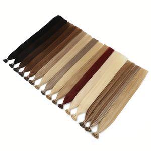 MRSHAIR queratina Cápsulas I Tip extensões do cabelo não-Remy 100% cabelo humano da vara Pré Bonded Cabelo Liso 50pc 200pc 1 g / pc