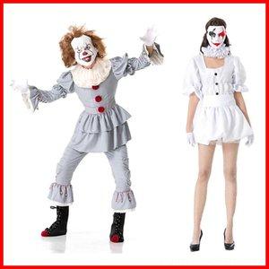 wmtL0 jugar juegos de Halloween fase COS papel uniforme juego de Halloween traje de juego de los hombres traje de desgaste de la etapa de retorno del alma de payaso