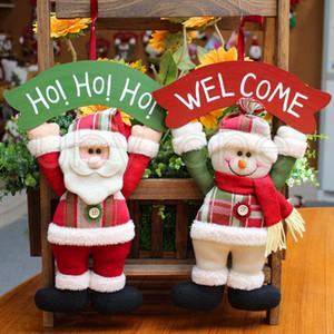 La decoración del árbol de navidad de la puerta ornamento colgante colgante de Santa Claus SnowmanChristmas decoraciones para Home Hotel Puerta del regalo de Navidad Decoración RRA3441