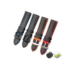 Silicone in fibra di carbonio il cinturino per il 17/18/19/20/21 / 22MM Orologi Cinturino cinturino braccialetto di gomma impermeabile della cinghia per orologio Rado