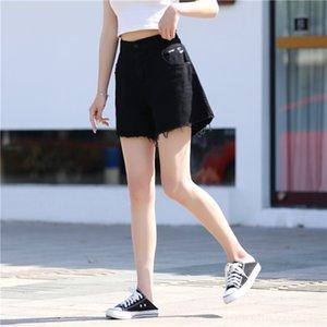 hot pants fzi5K di moda grandi dimensioni a vita alta 200kg denim Shorts modo di estate grasso Nuova allentata di lana 5605 hot pants gamba mm di larghezza