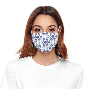 دي إتش إل الحرة الشحن 2020 جديد مصمم الأزياء قناع الوجه أقنعة قابل للغسل الأزرق والأبيض زهرة مناسبة للأطفال الكبار ركوب مكافحة رائحة قناع القطن