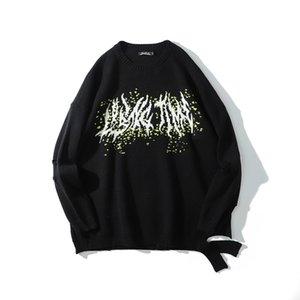 Оригинальное круглое отверстие шеи Негабаритные свитер Mens Pullover Streetwear Сыпучие повседневные Свитера Трикотажное Hip Hop Одежда