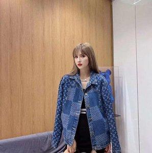 2020 Новая мода дизайнер Жан куртка для женщин, Малый жаккардовой осень моды Stitching европейский и американский стиль, бесплатная доставка,