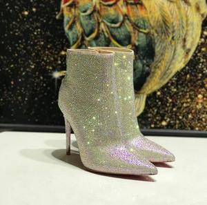 Lady Wedding Dress Boot Red Bottom strass rhinestones High heels ankle Boots With Silver Glitter Mini heel Women High Heels Bootie