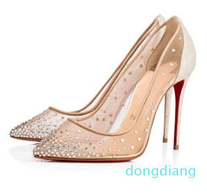 Hot Sale-Wedding Marry Dress Shoes Flat  High Heels Red Bottom Pumps Follies Strass Degrastrass Imported mesh+rhinestone Party Evening Shoes