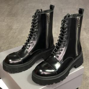 Las mujeres Tractor 20MM con cordones de arranque Negro suave piel de becerro de combate botas de moda Martin botas de bajo-top zapatos de la plataforma superior vestido de la calidad zapatos EU41