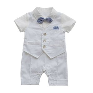 Infant Baby Boys Gentleman Waistcoat Bowtie Tuxedo Jumpsuit Outfits Turn-down Collar Romper Bow set 827 Deals
