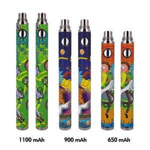 510 fio de pré-aquecimento da bateria torção vape caneta 650mAh 900mAh 1100mah recarregável para vape cartucho de erva seca VS visão giratório II
