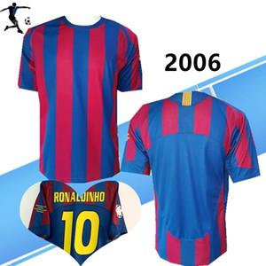 2005 2006 UCL finale Ronaldinho casa retrò calcio maglie LARSSON Xavi Iniesta Deco MESSI 05 06 V. Bommel camicia vintage classico gioco del calcio