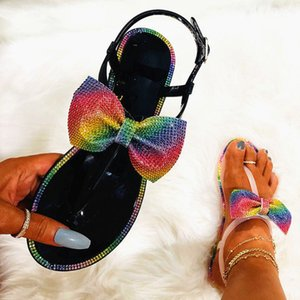 Hot Sale- 2020 Women's Summer New Rainbow Diamond Bow Tie Slippers Ladies Plus Size Jelly Sandals Fashion Students Flat Sandals