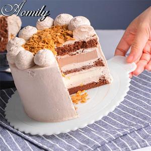"""Moldes de cozimento Amoliy 12 """"10"""" 8 """"6"""" 6 """"4"""" Reutilizável esteira de bolo não-vara impermeável Junta de gaxeta Pastry Bakeware Fondant Ferramentas Estêncil Moldes"""
