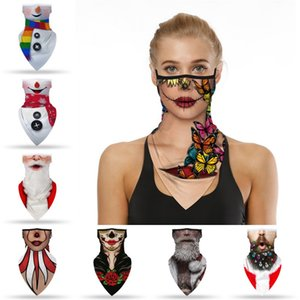 Christmas Triangle Scarf Outdoor Sport Windproof Neck Face Shield Bandana Adult Magic Headscarf Headband Xmas Face Neck Cover AAB1104