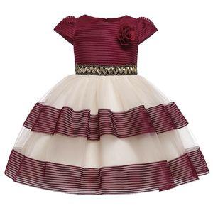 Baby Girls Clothes New Flower Kids Tutu Birthday Princess Party Dress for Girls Children Bridesmaid Elegant Dress for Girl 0922