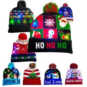 볼 메리 크리스마스 모자 남성 여성 다채로운 LED 스위치 박스 니트 모자 소년 소녀 랜턴 자 따뜻함 성인 모자