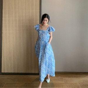 BEtuB DT EDIZIONE manica foglia di loto collare quadrato estate del pannello esterno vestito dei bambini blu estate francese 2020 abito floreale